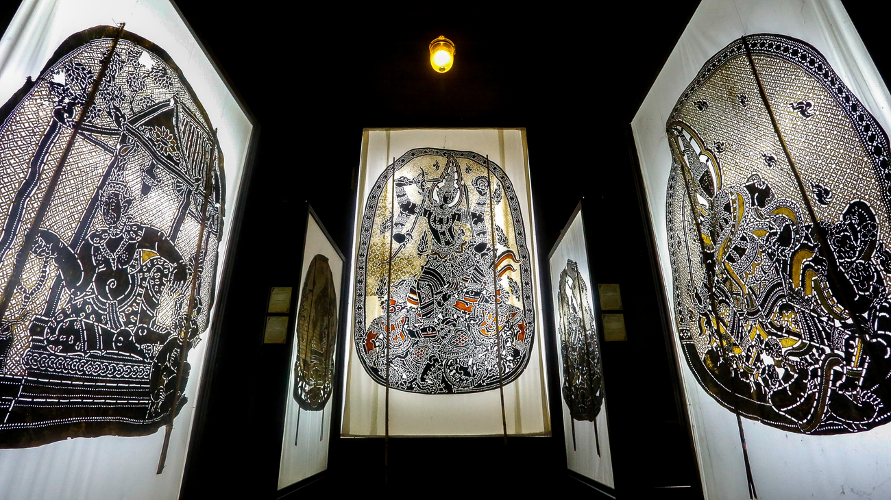 Hidden art museums and art galleries in Thailand: Surrounded by Nang Yai shadow puppets at Wat Khanon