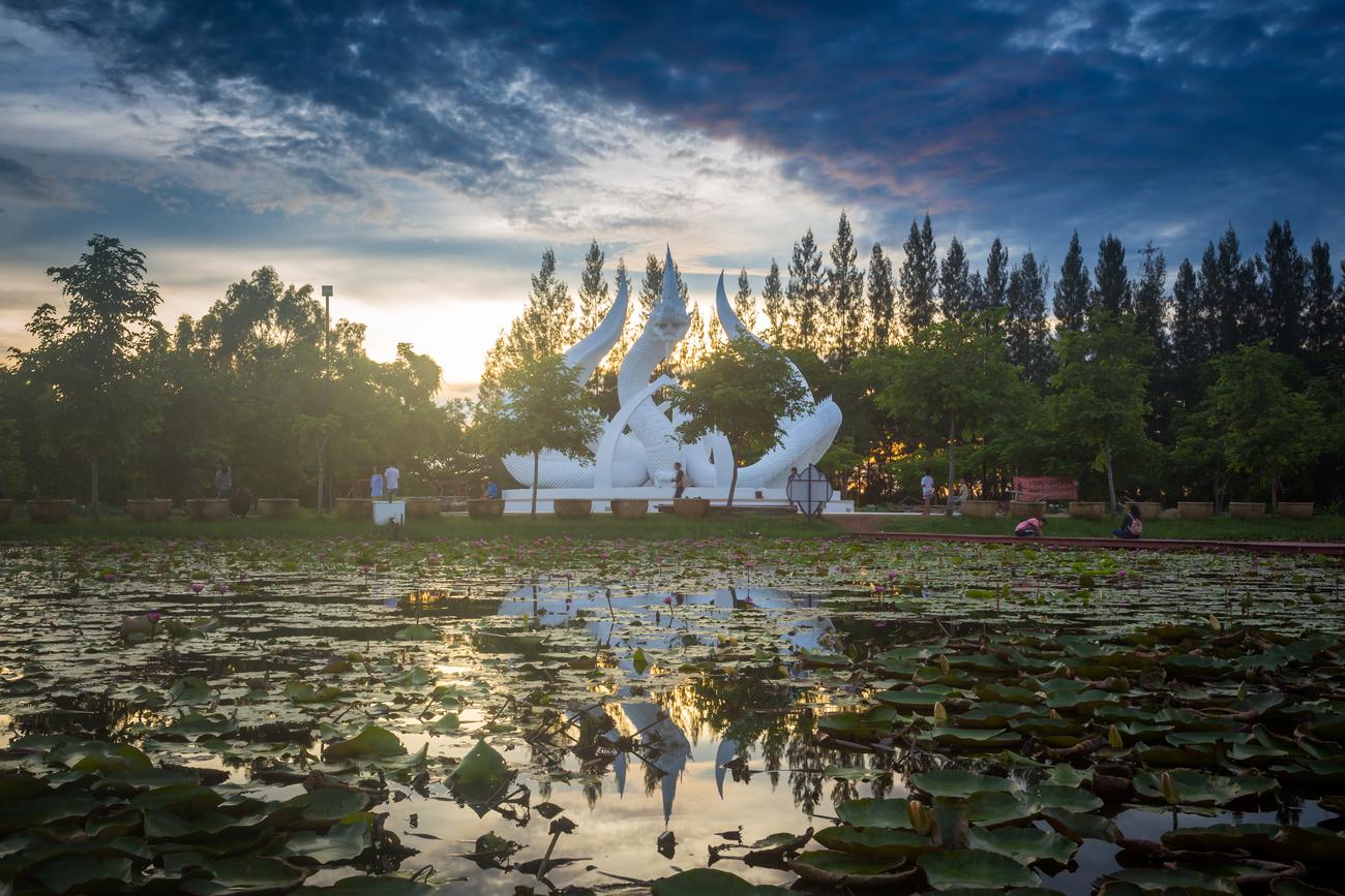 Things to do in Sakon Nakhon, Thailand: The lotus park and the Naga statue