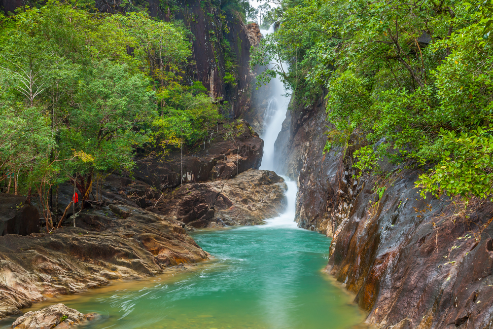 Things to do in Trat, Thailand: Khlong Phlu Waterfall and its verdant surroundings on Koh Chang