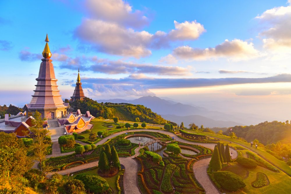Twin pagodas on Doi Inthanon, Chiang Mai