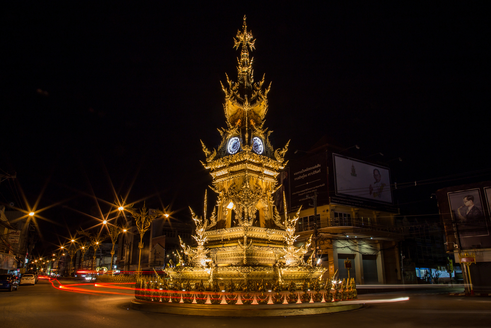 Things to do in Chiang Rai, Thailand: Chiang Rai Clock Tower glowing gold