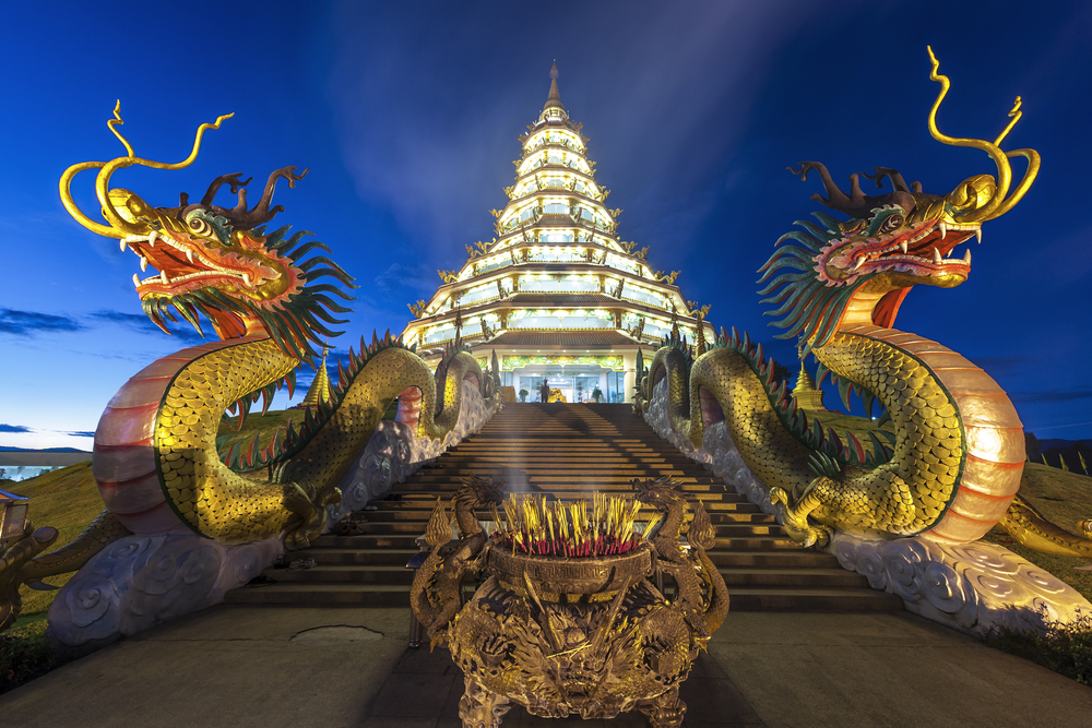 Things to do in Chiang Rai, Thailand: Wat Huay Pla Kung lit up at night