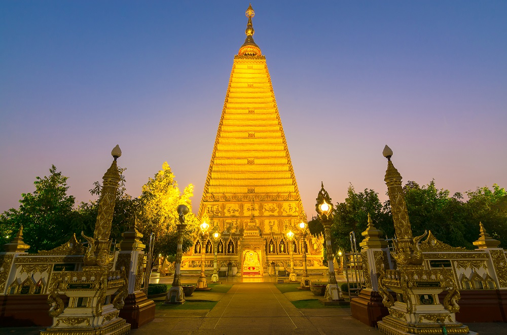 Things to Do in Ubon Ratchathani, Thailand: replica of the Mahabodhi stupa at Nong Bua Temple